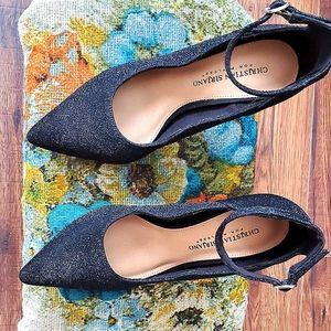 Christian Siriano black sparkle strap heel